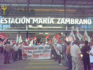 Strike at Malaga Maria Zambrano train station June 2011