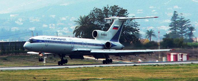 Aeroflot Plane at Malaga airport