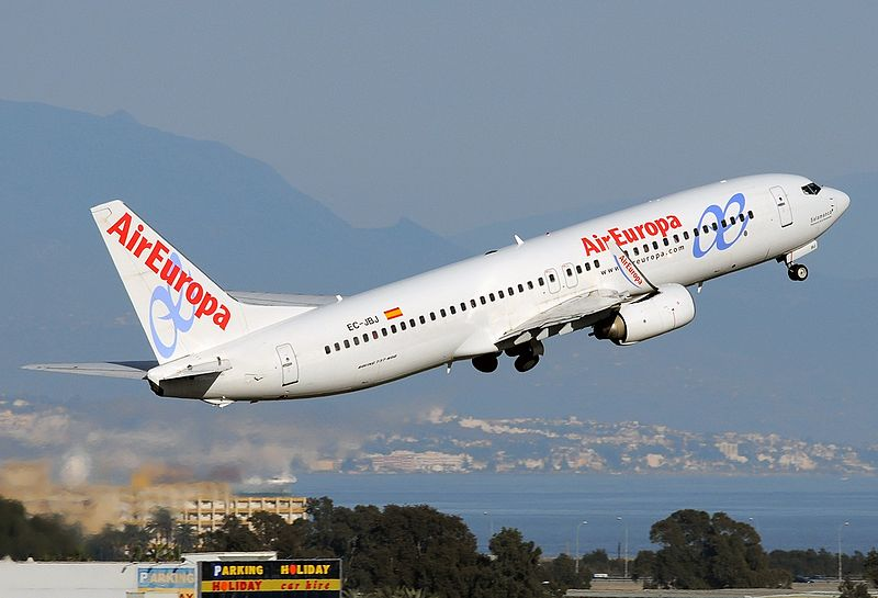 AirEuropa plane take off at Malaga airport