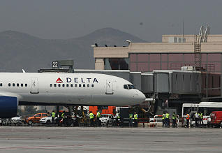 Delta airplane at Malaga airport